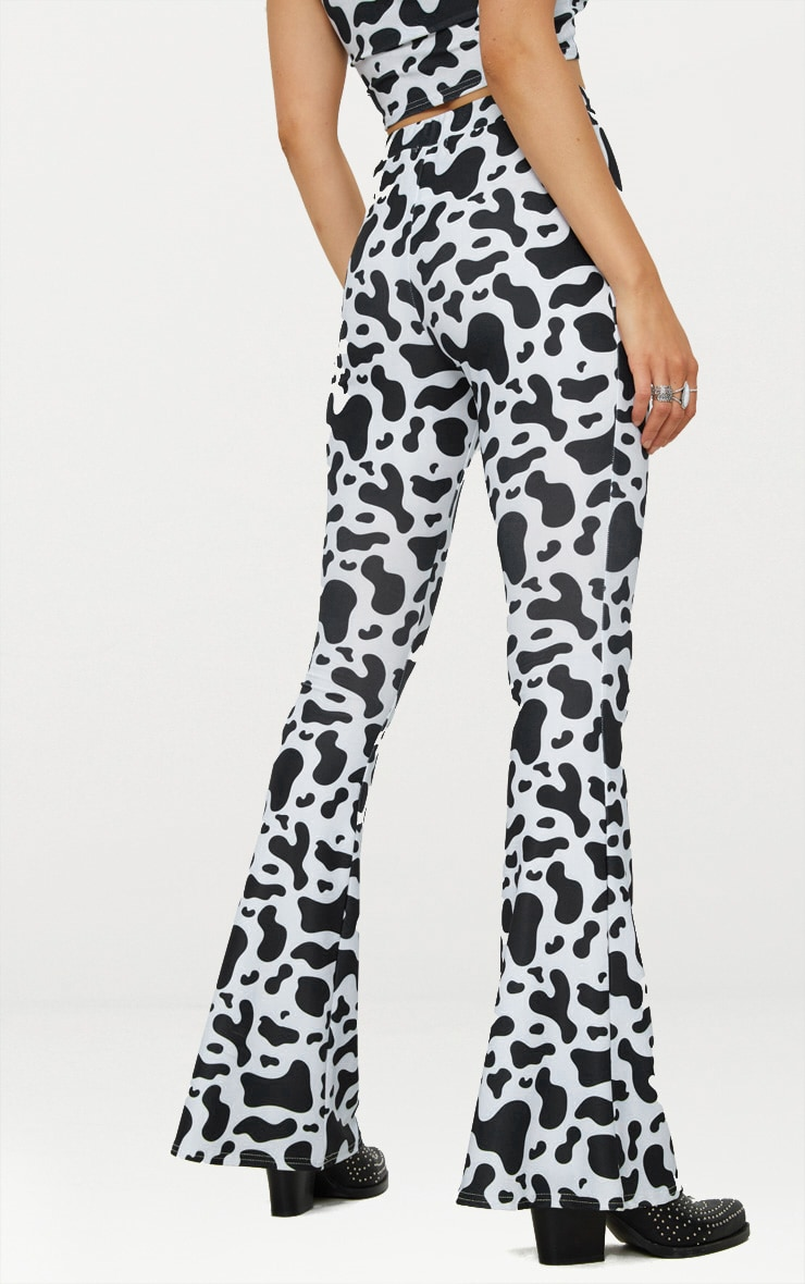 White Cow Print Slinky Flared Trousers 4