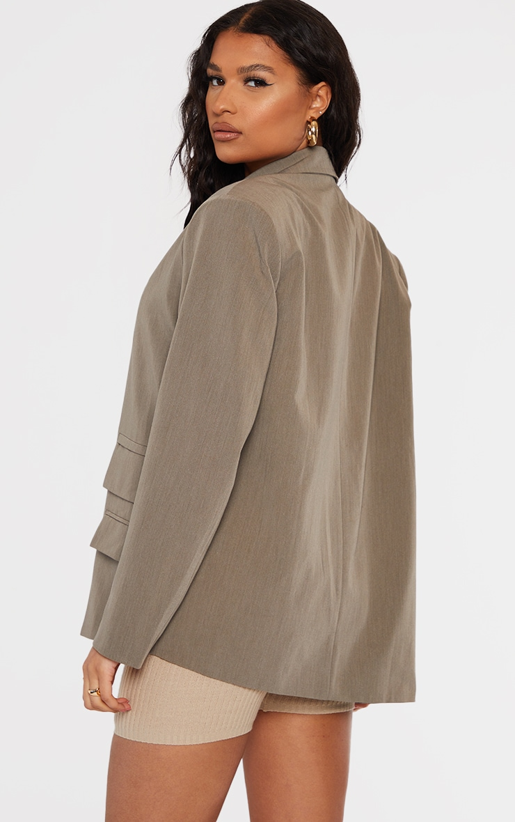 Khaki Woven Double Pocket Side Button Dad Blazer 2