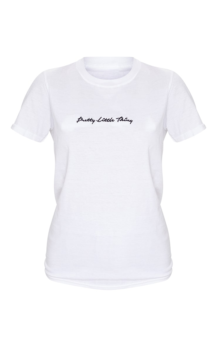 PRETTYLITTLETHING White Slogan Oversized T Shirt 5