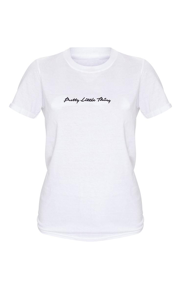 PRETTYLITTLETHING - T-shirt oversize blanc à slogan 5