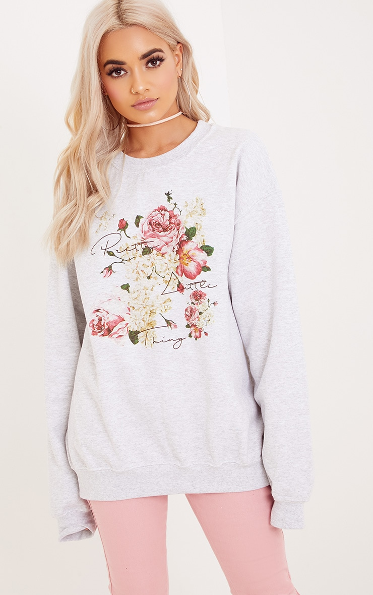 PrettyLitteThing Grey Floral Print Sweater 1