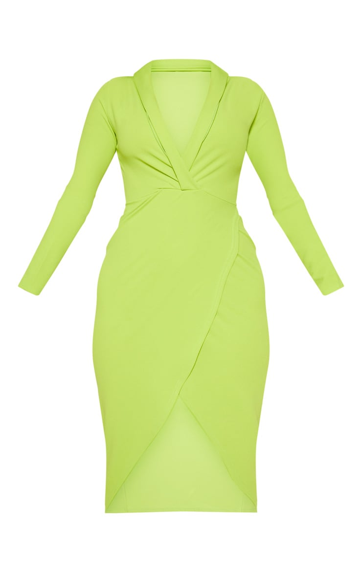 Neon Lime Plunge Split Leg Midi Dress 3