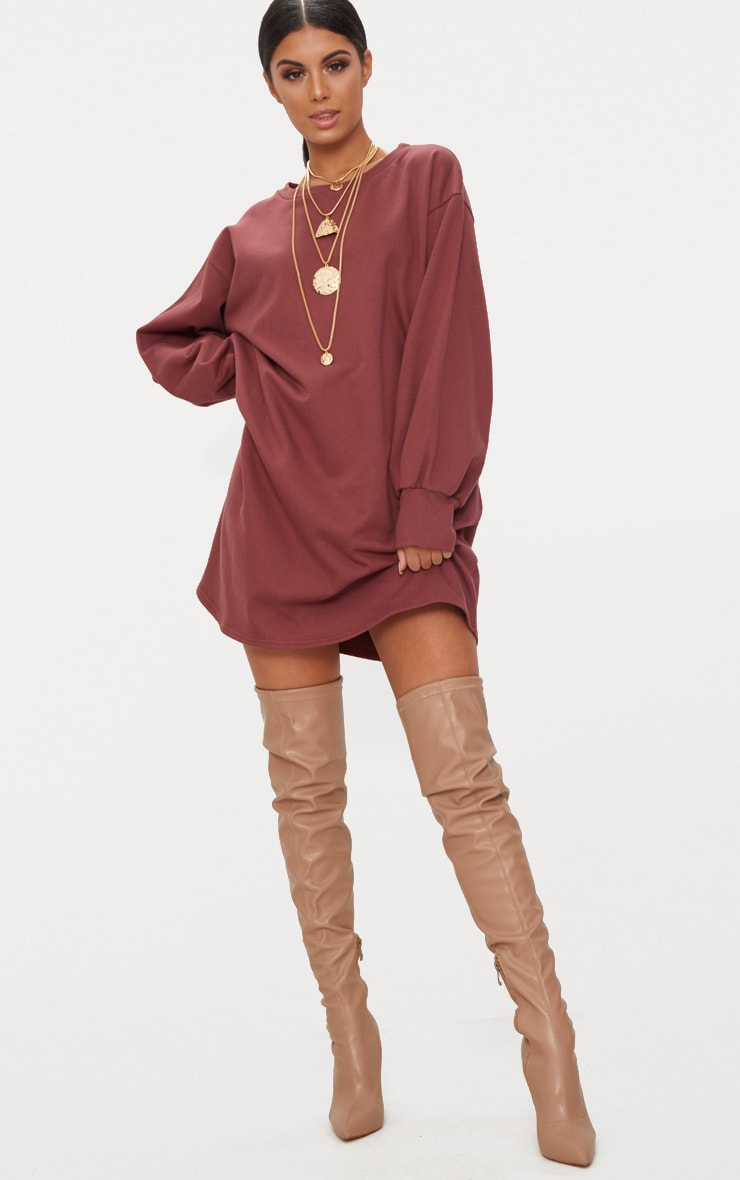 Deep Berry Oversized Sweater Dress