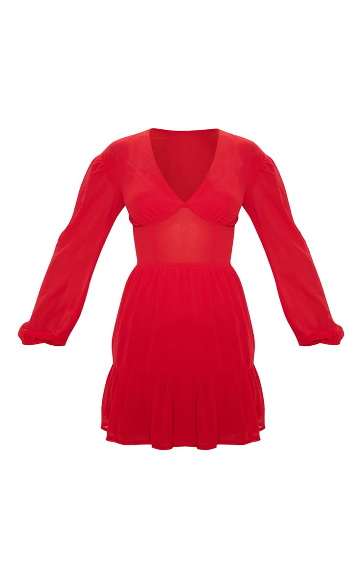 Red V Neck Woven Frill Hem Bodycon Dress 3