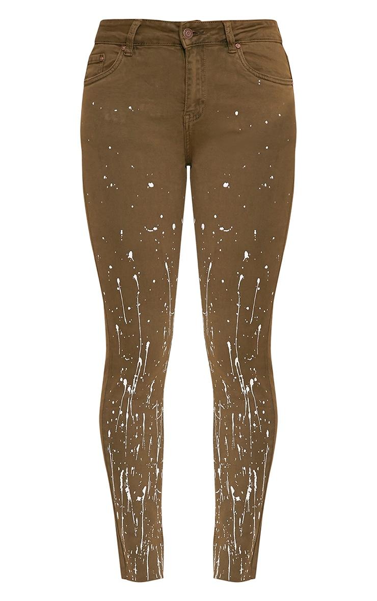 Fion Khaki Bleach Splatter Skinny Jean 3