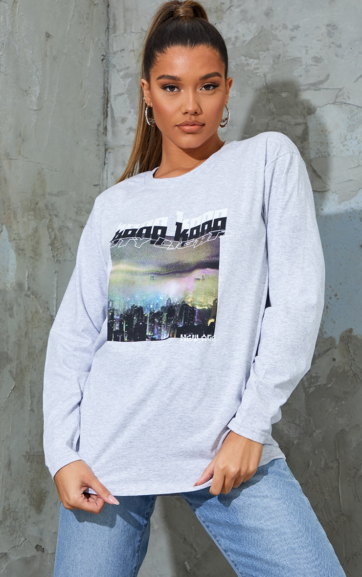 Grey City Lights New Age Printed Long Sleeve T Shirt 1