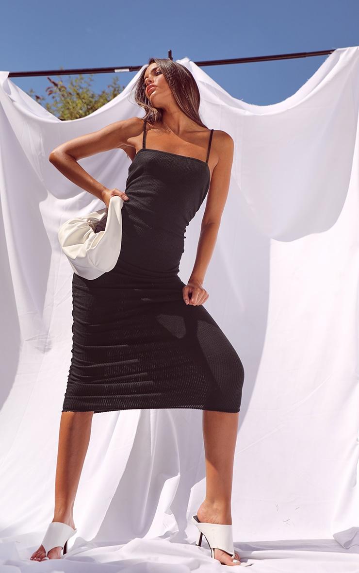 Black Brushed Rib Strappy Ruched Midi Dress