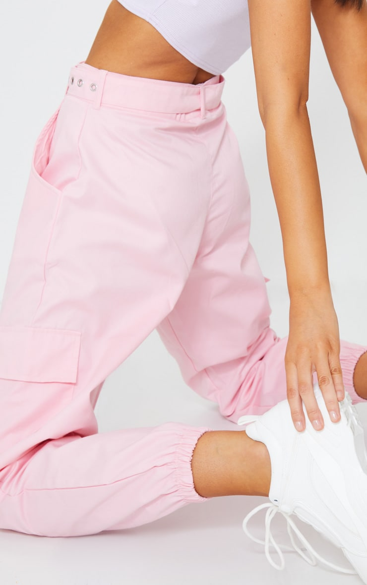 Pink Eyelet Detail Belted Cargo Trousers 4