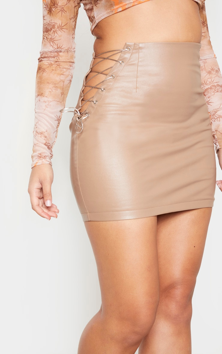 Stone Faux Leather Lace Up Side Mini Skirt 5