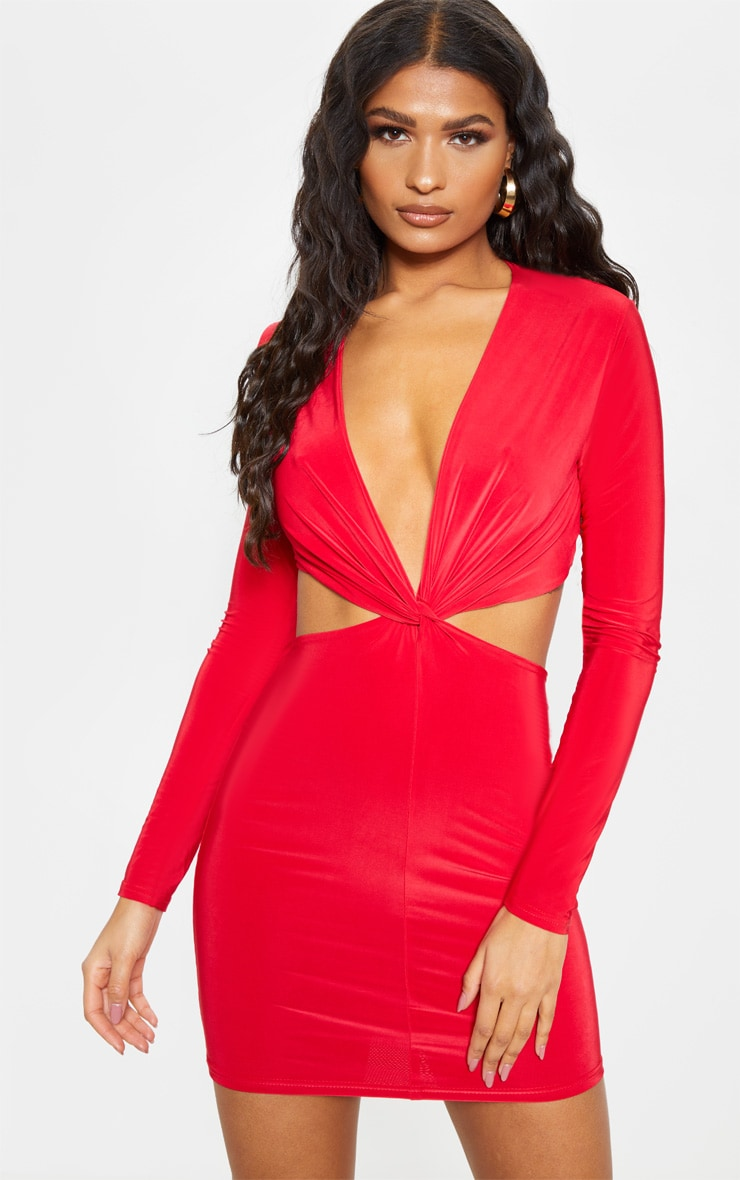 Red Slinky Knot Front Cut Out Bodycon Dress 1