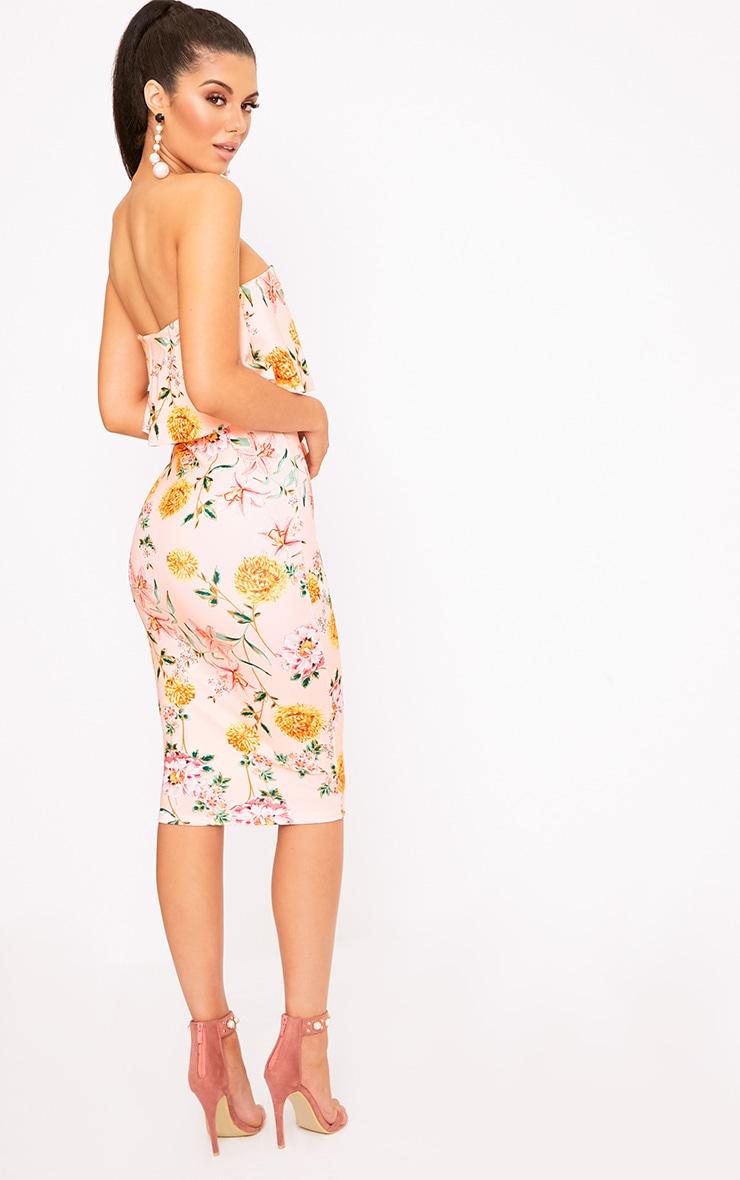 Norie Nude Floral Bandeau Midi Dress 2