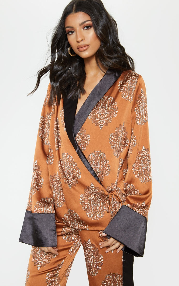 Rust Satin Paisley Print Contrast Blouse 1