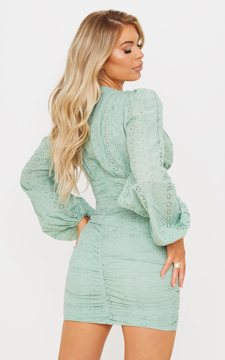 Sage Green Broderie Anglaise Ruched Balloon Sleeve Bodycon Dress 2