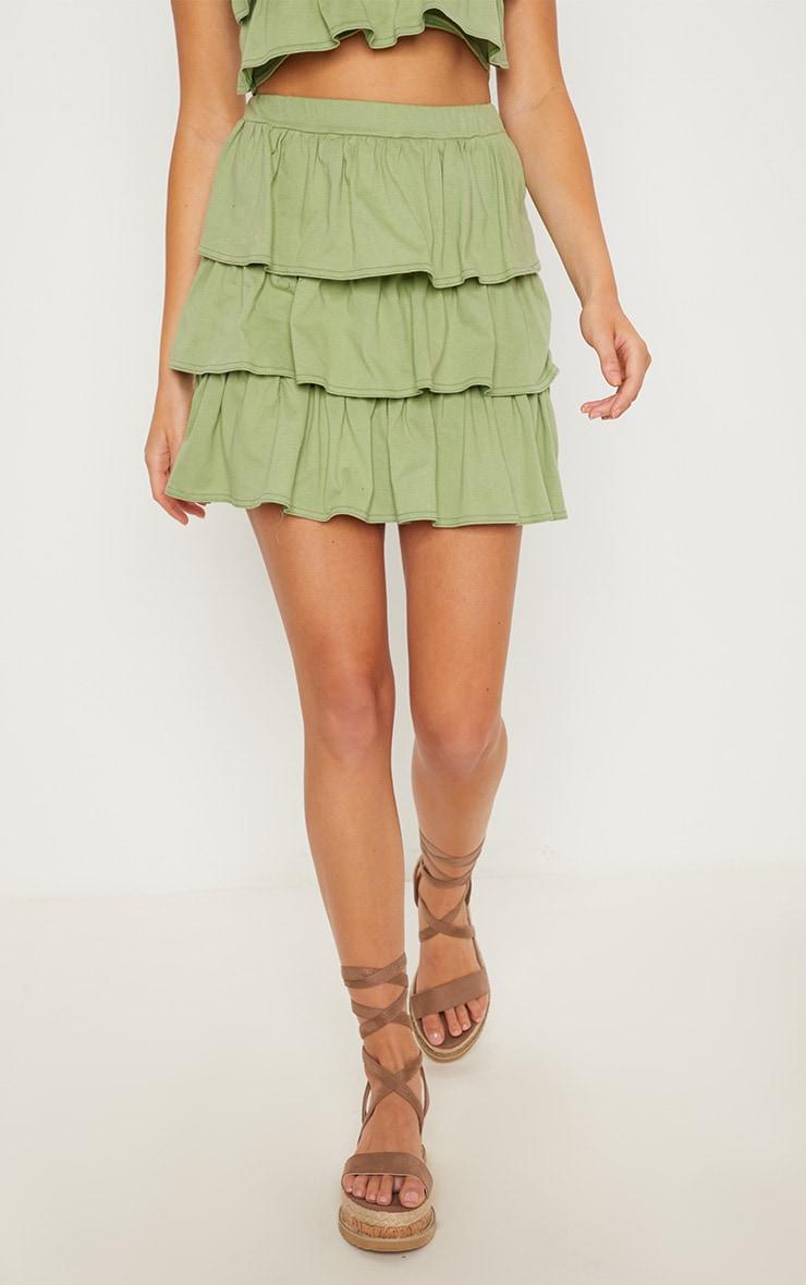 Sage Green Frill Mini Skirt 2