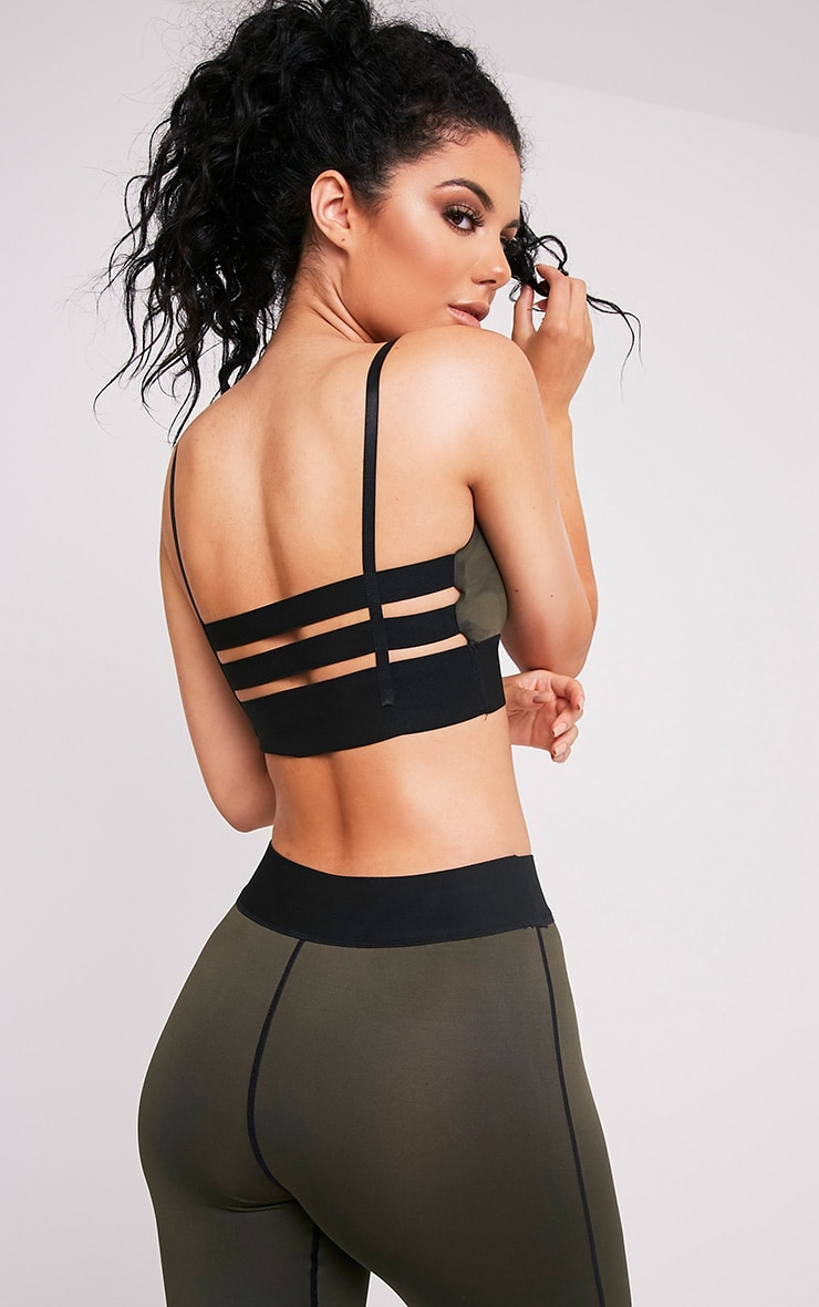 Georgiana Khaki Caged Back Sports Bra 1