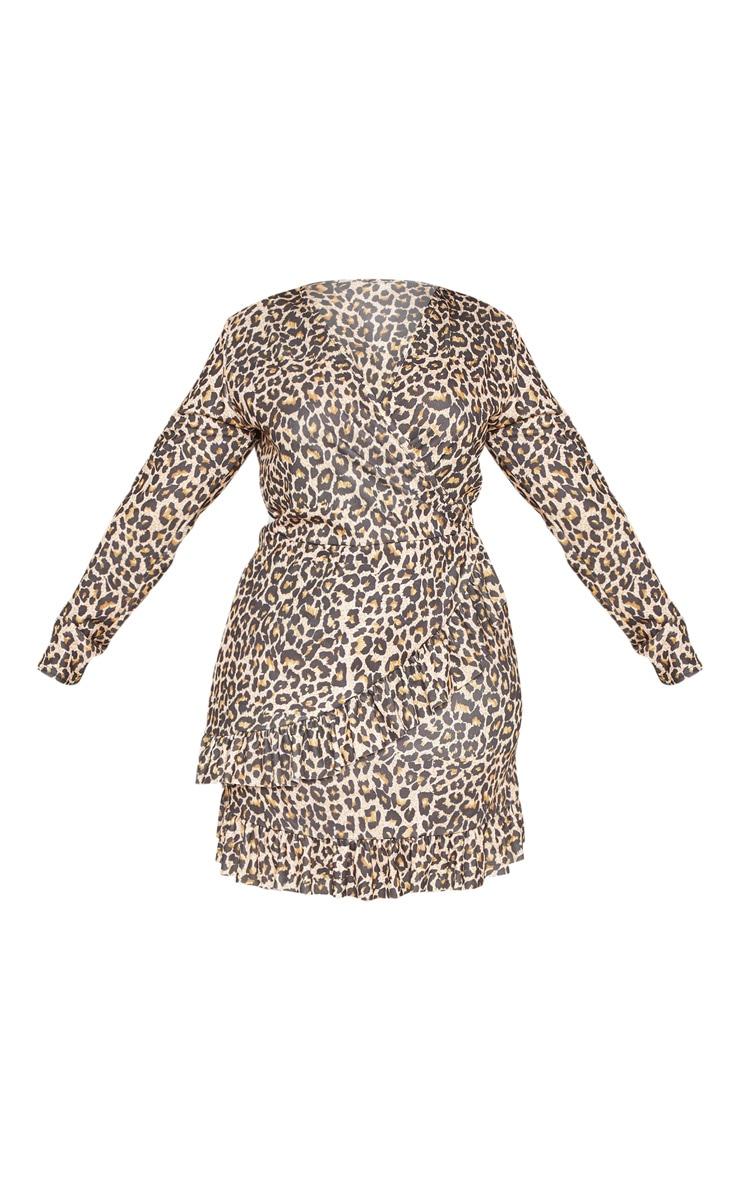 PLT Plus - Robe cache-coeur marron imprimé léopard 3