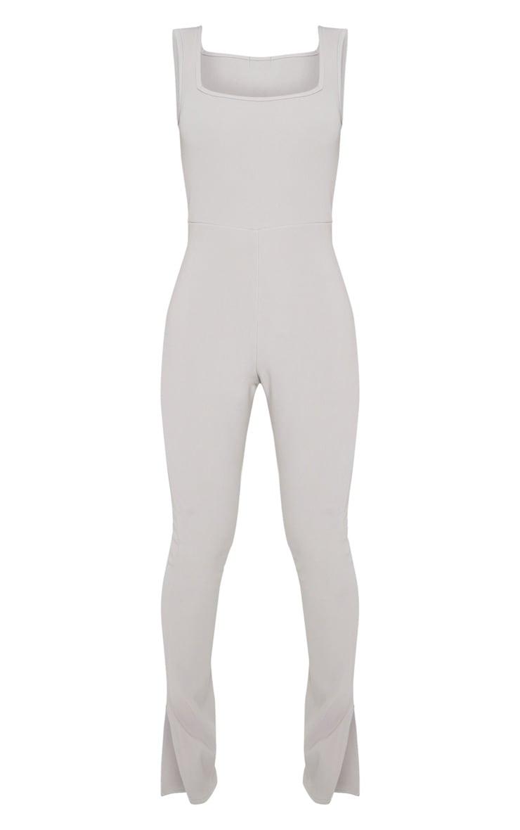 Grey Thick Rib Strappy Split Hem Jumpsuit 5