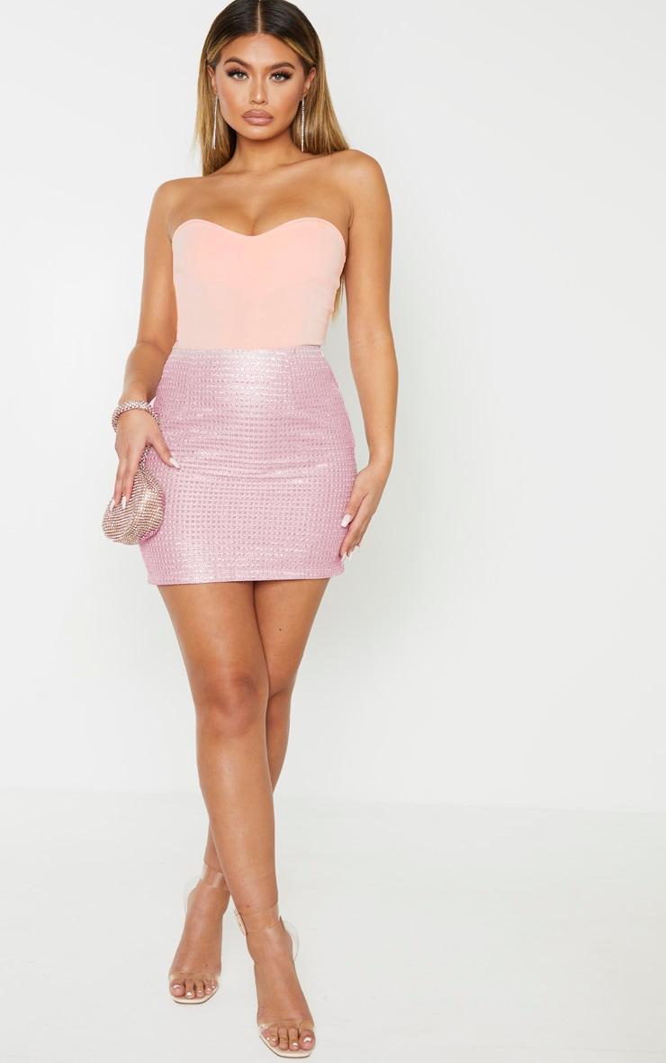 Pink Woven Glitter Detail Mini Skirt 5