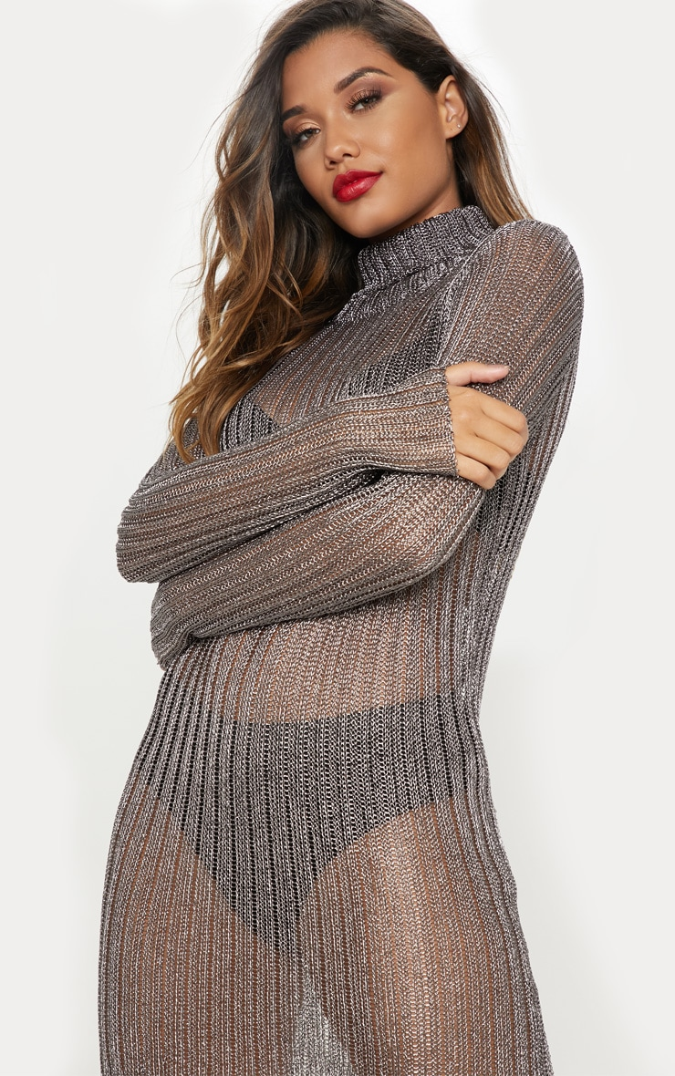 Pewter Roll Neck Metallic Knitted Dress 5
