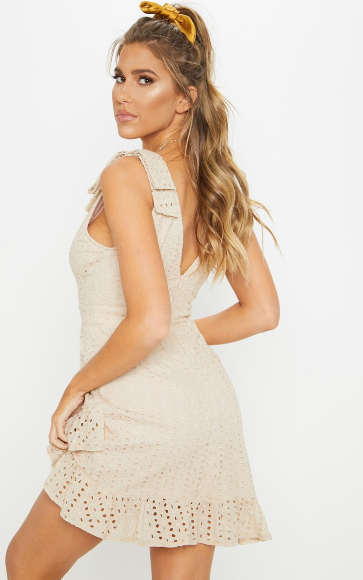Nude Broderie Anglaise Strap Detail Frill Hem Shift Dress 2
