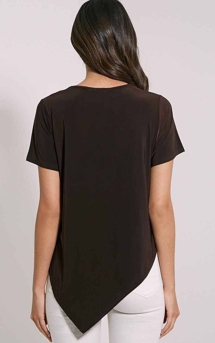 Meimei Chocolate Brown V Hem T-Shirt 2