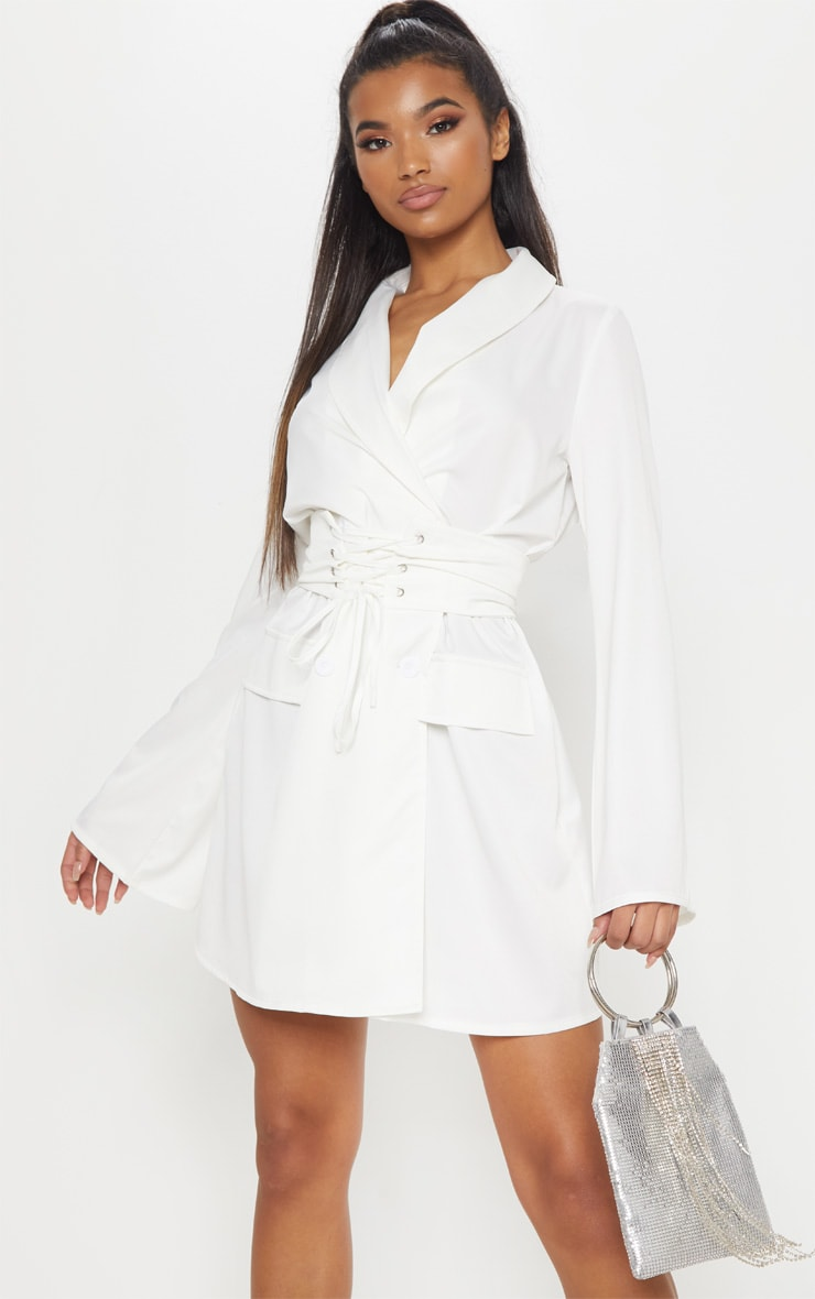 b23e04ee5d White Corset Blazer Dress image 1