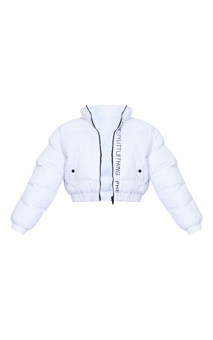 PRETTYLITTLETHING White Cropped Toggle Hem Puffer 5