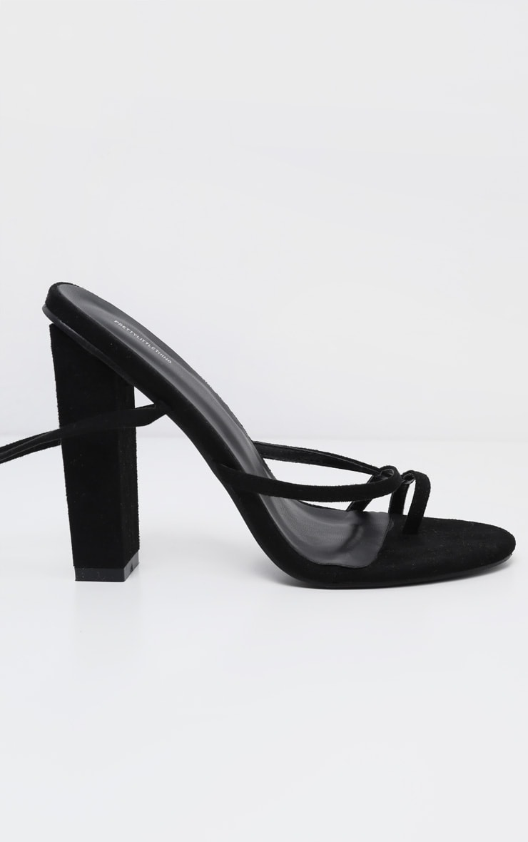 Black Toe Loop Heeled Sandal 4