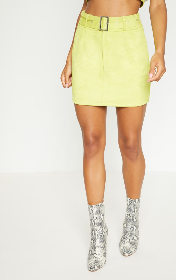 Lime Green Bonded Suede High Waisted Skirt  3