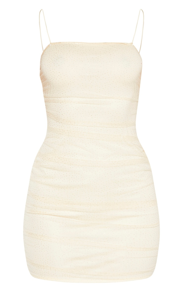 Nude Glitter Mesh Ruched Strappy Bodycon Dress 3