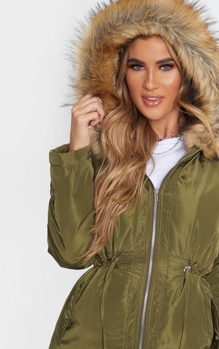 Khaki Faux Fur Trim Hood Parka Coat 5