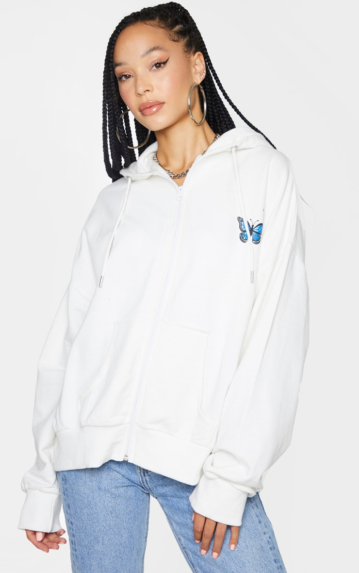 White Butterfly Oversized Hooded Jacket 2