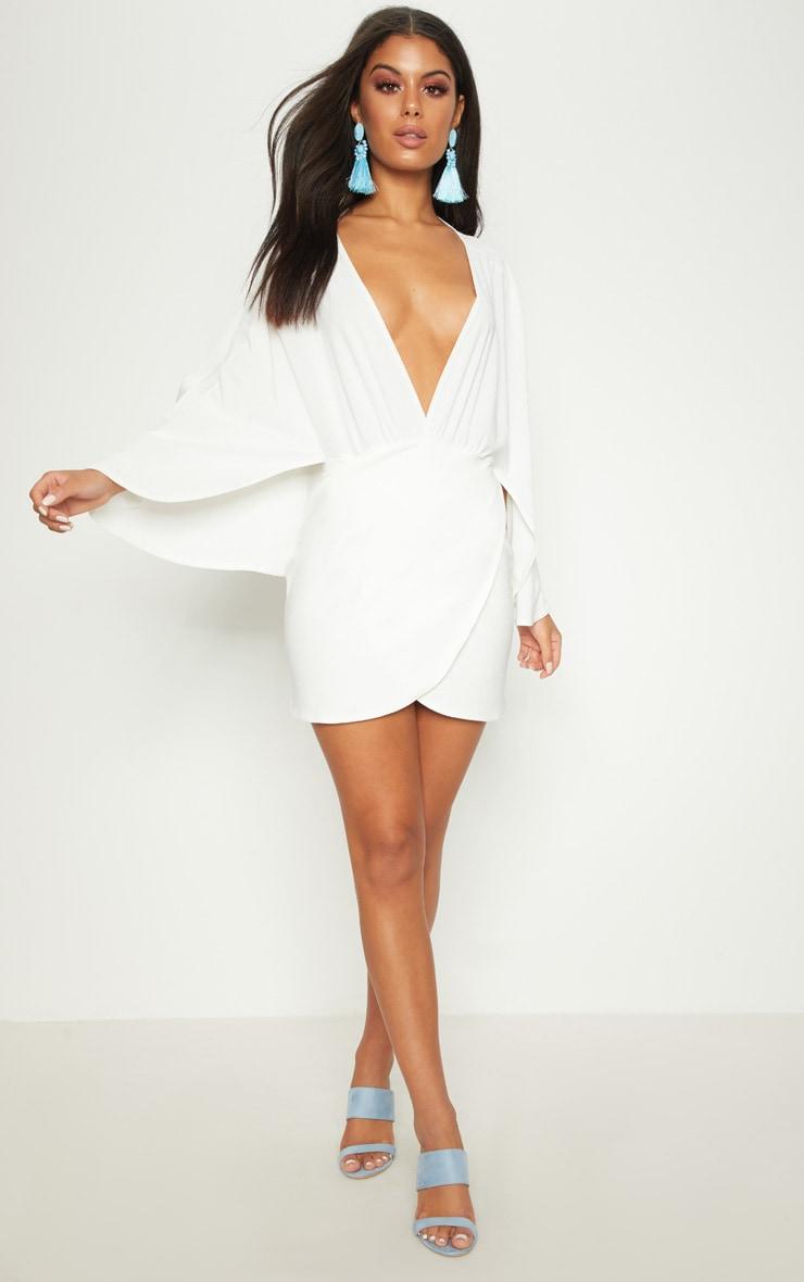 White Plunge Cape Wrap Over Bodycon Dress 3
