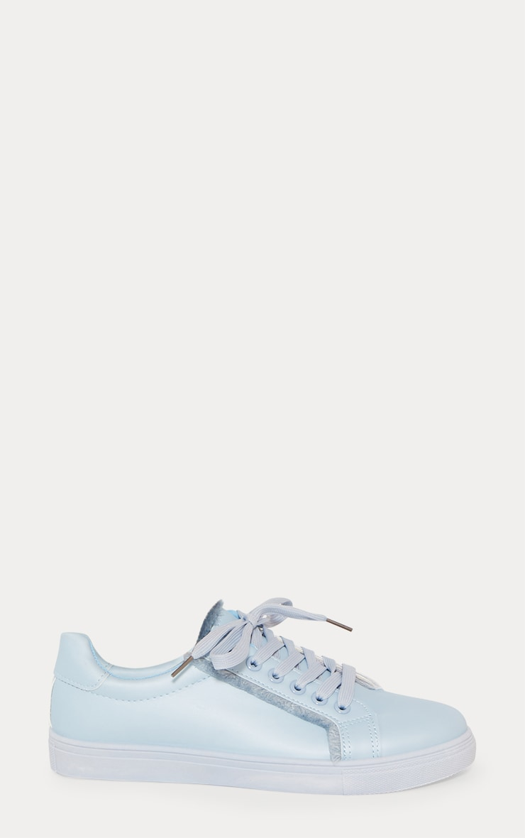 Dusty Blue Frayed Edge Lace Up Trainer 4