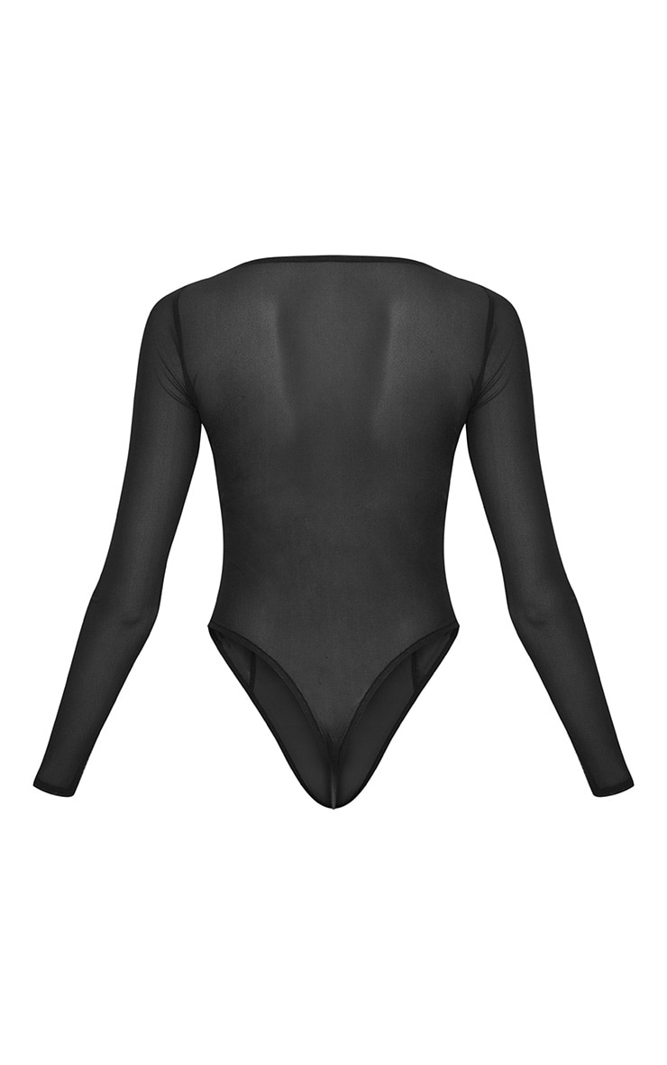 Black Mesh Cut Out Detail Long Sleeve Thong Bodysuit 4