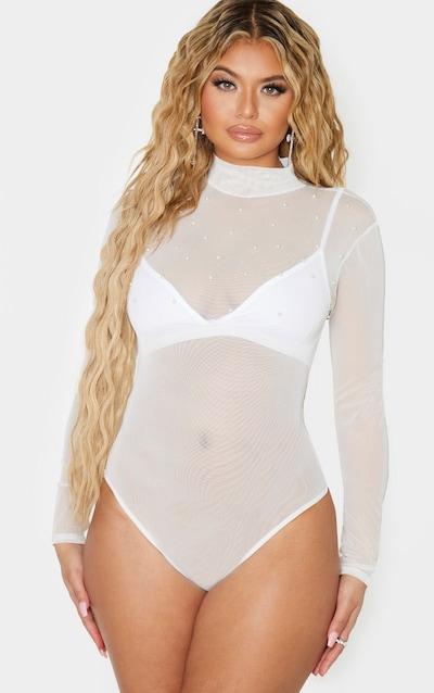 White Mesh Pearl Detail Long Sleeve Bodysuit
