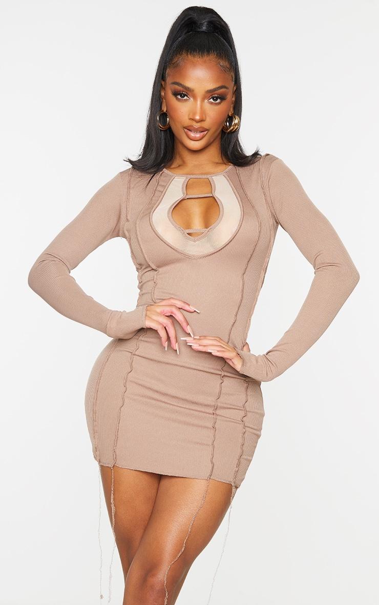 Shape Brown Rib Mesh Panel Seam Detail Bodycon Dress 1