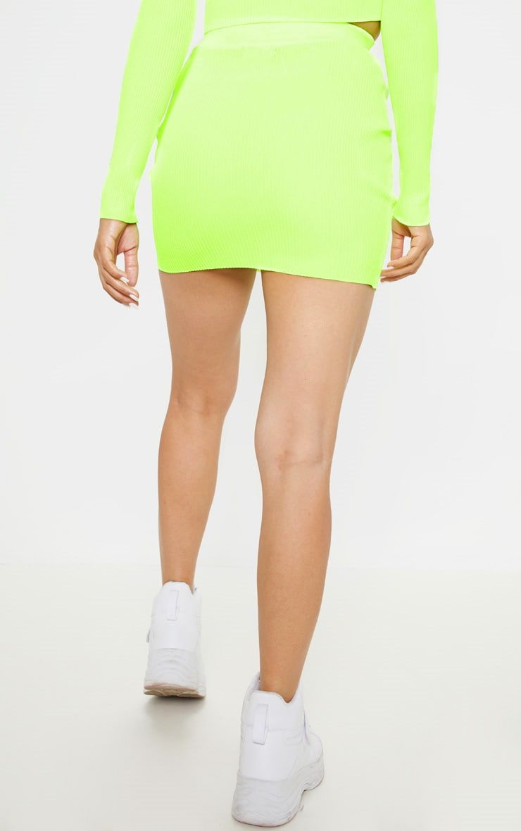 Neon Yellow Ribbed Knitted Mini Skirt  4