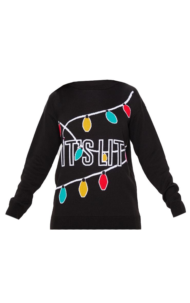 Black It's Lit Christmas Sweater 3