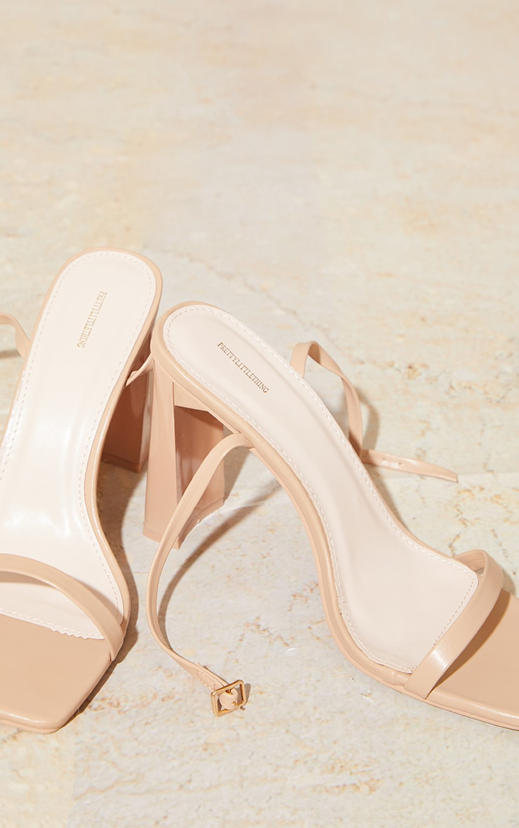 Nude PU Block Heel Barely There Sandals 4