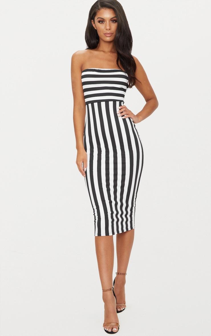 Black Contrast Stripe Bandeau Midi Dress 1