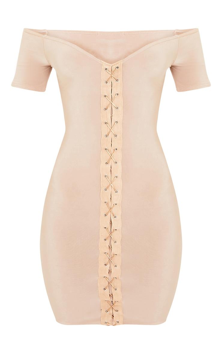 Nude Lace Up Cap Sleeve Bardot Bodycon Dress 3