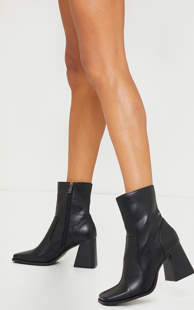 Black Square Toe Flare Block Heel Ankle Boot 1