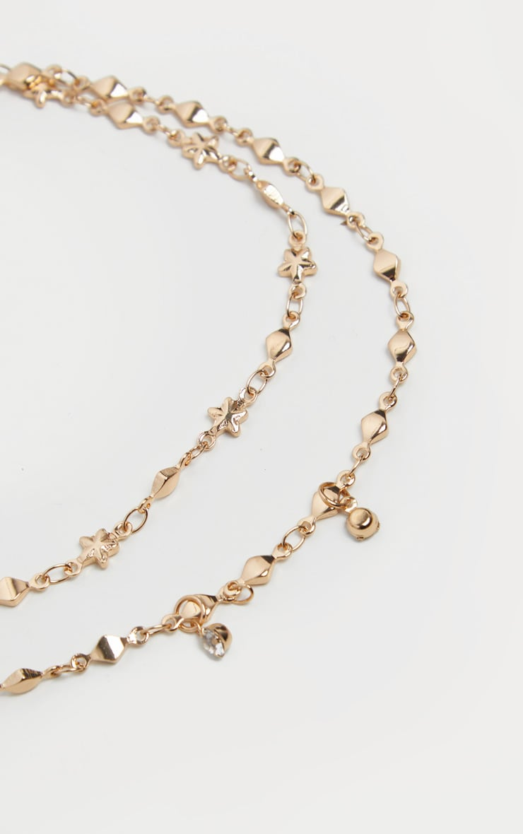 Gold Double Layer Stars And Diamante Chain Anklet 3