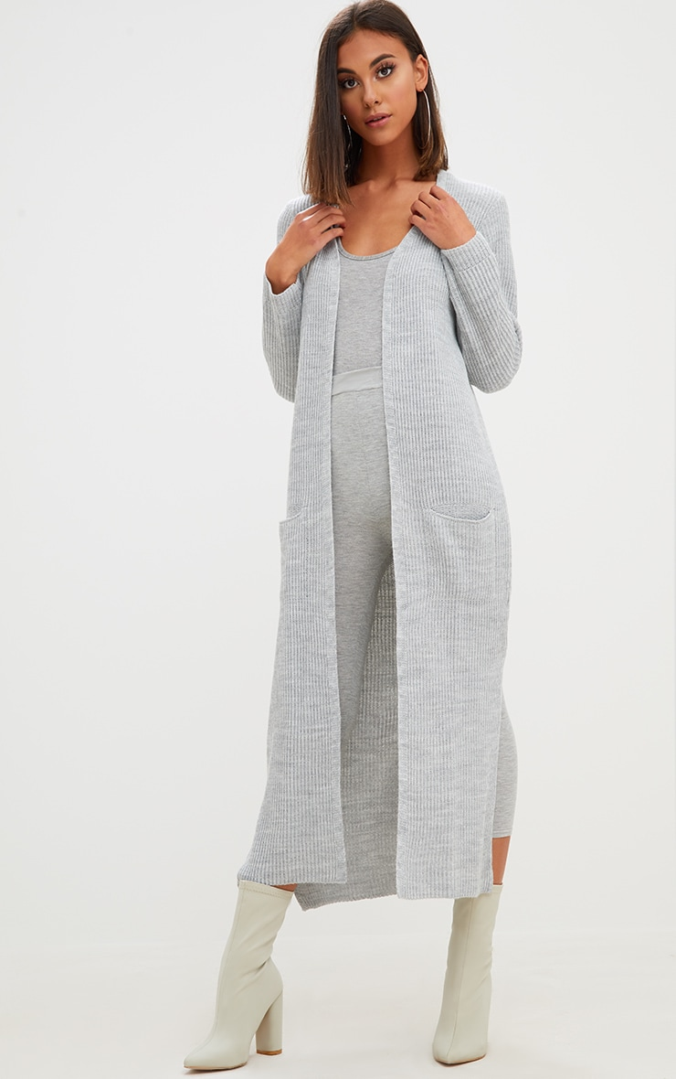 Grey Pocket Front Maxi Cardigan 4