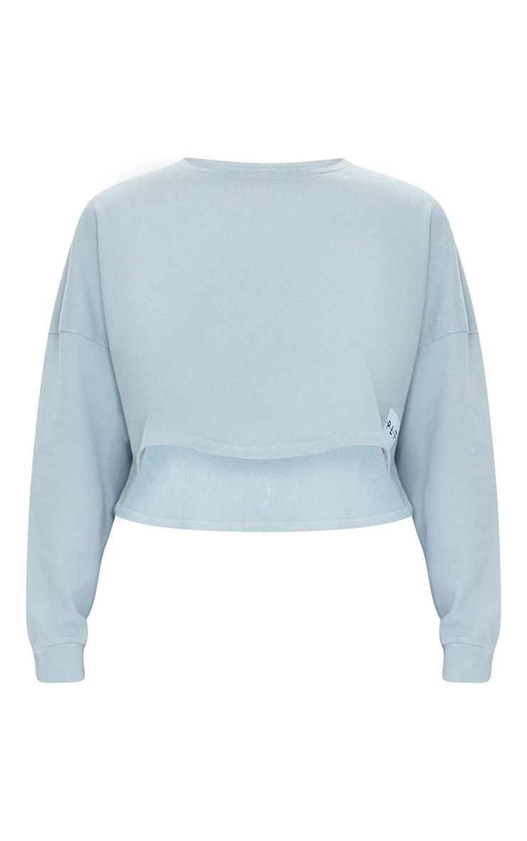 PRETTYLITTLETHING Grey Label Washed Long Sleeve Crop T Shirt 5