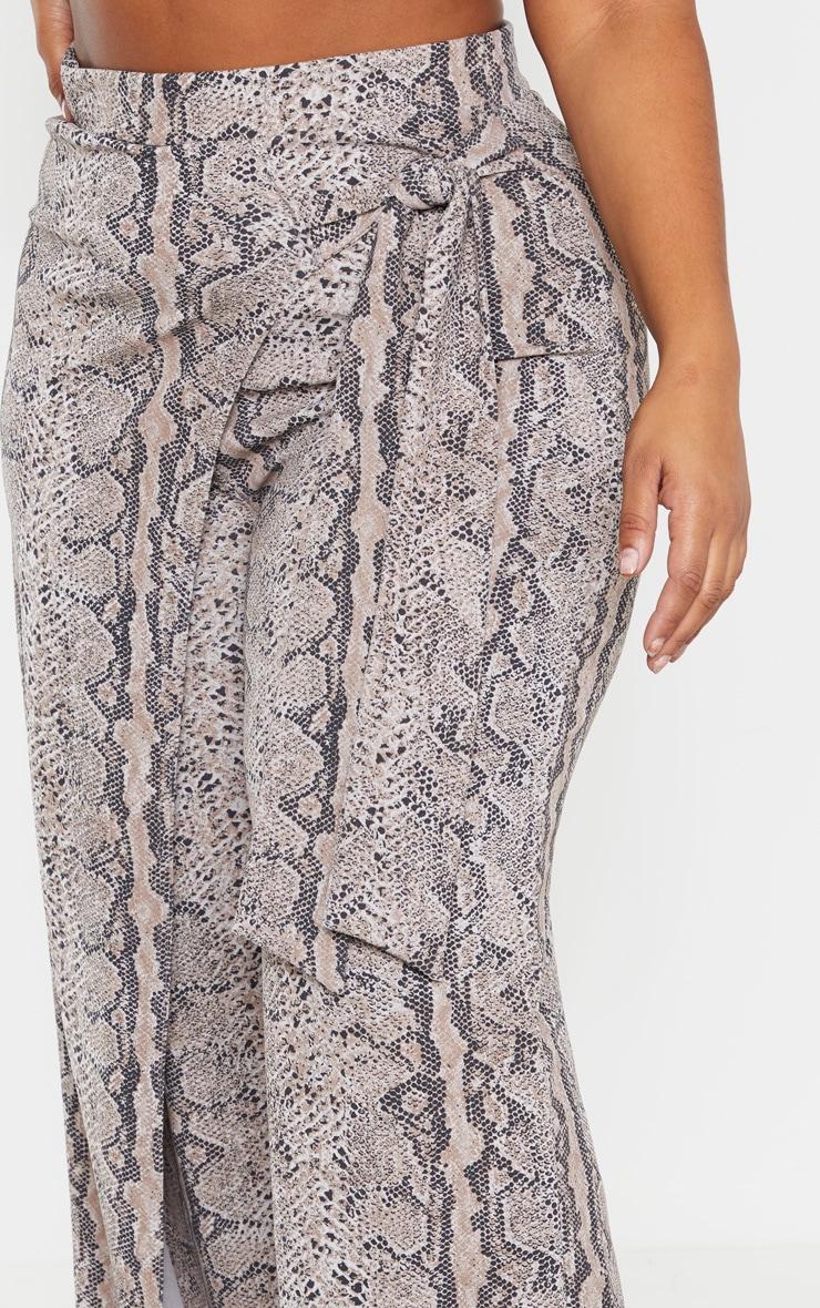 Plus Taupe Snake Print Wrap Detail Wide Leg Pants  5