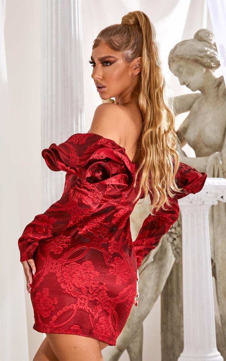 Red Puff Sleeve V Bar Jacquard Bodycon Dress 2