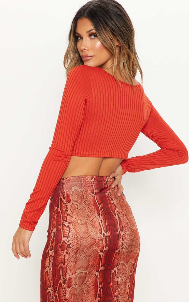 Rust Long Sleeve Rib Raw V Crop Top 2