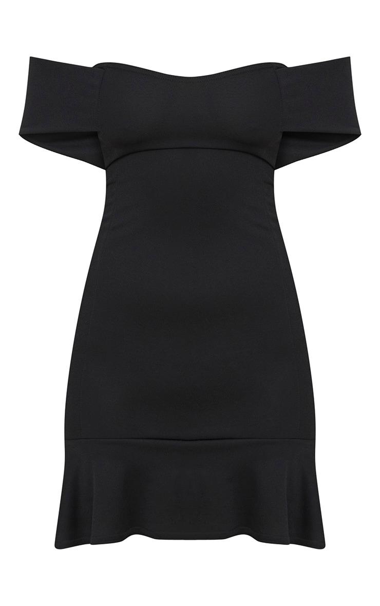 Black Bardot Frill Hem Bodycon Dress 3